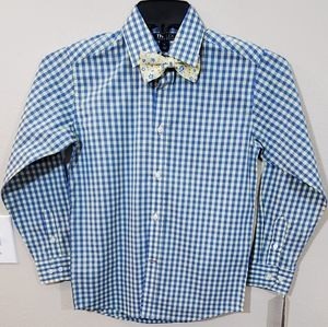 New Tommy Hilfiger blue yellow plaid shirt & tie